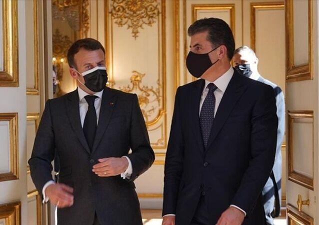 Fransa Cumhurbaşkanı Emmanuel Macron, Paris'te Irak Kürt Bölgesel Yönetimi (IKBY) Başkanı Neçirvan Barzani ile görüştü.