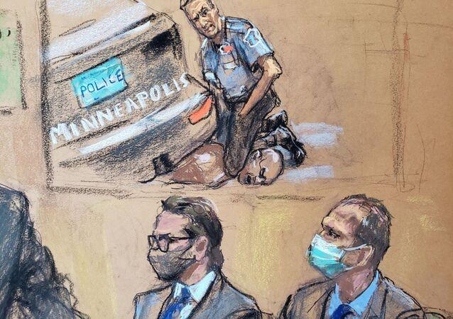 Mahkeme çizimiyle George Floyd davasında boğularak öldürülmesinin videosu gösterilirken avukat Eric Nelson ile müvekkili olan eski polis memuru Derek Chauvin (sağda)