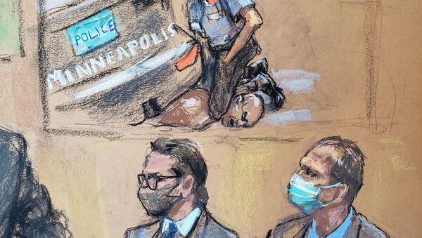 Mahkeme çizimiyle George Floyd davasında boğularak öldürülmesinin videosu gösterilirken avukat Eric Nelson ile müvekkili olan eski polis memuru Derek Chauvin (sağda) - Sputnik Türkiye