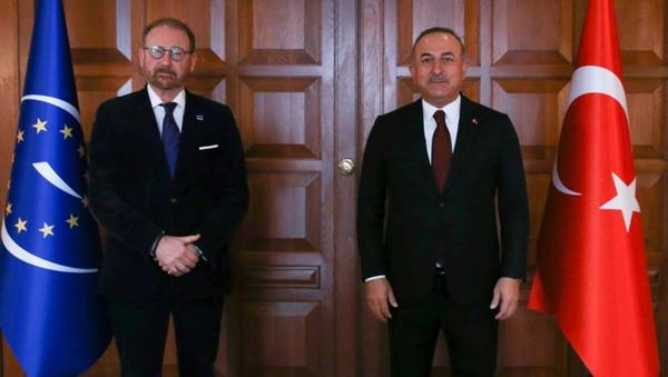 Dışişleri Bakanı Mevlüt Çavuşoğlu, Avrupa Konseyi Parlamenter Meclisi (AKPM) Başkanı Rik Daems - Sputnik Türkiye