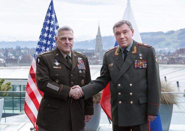 Rusya Genelkurmay Başkanı Valeriy Gerasimov'un ABD Genelkurmay Başkanı Mark Milley
