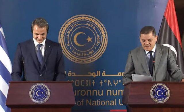 Libya Ulusal Birlik Hükümeti Başbakanı Abdulhamid Dibeybe, Yunanistan Başbakanı Miçotakis ile düzenlediği ortak basın toplantısında