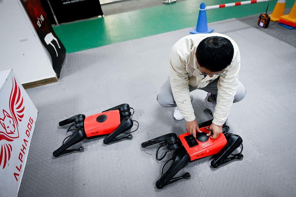 Nankin merkezli üreticiler, saatte neredeyse 15 kilometre hızla hareket eden ve heyecanlı bir köpek yavrusu gibi olduğu yerde dönen robot köpeğin, piyasadaki en hızlı köpek olduğunu belirtti.