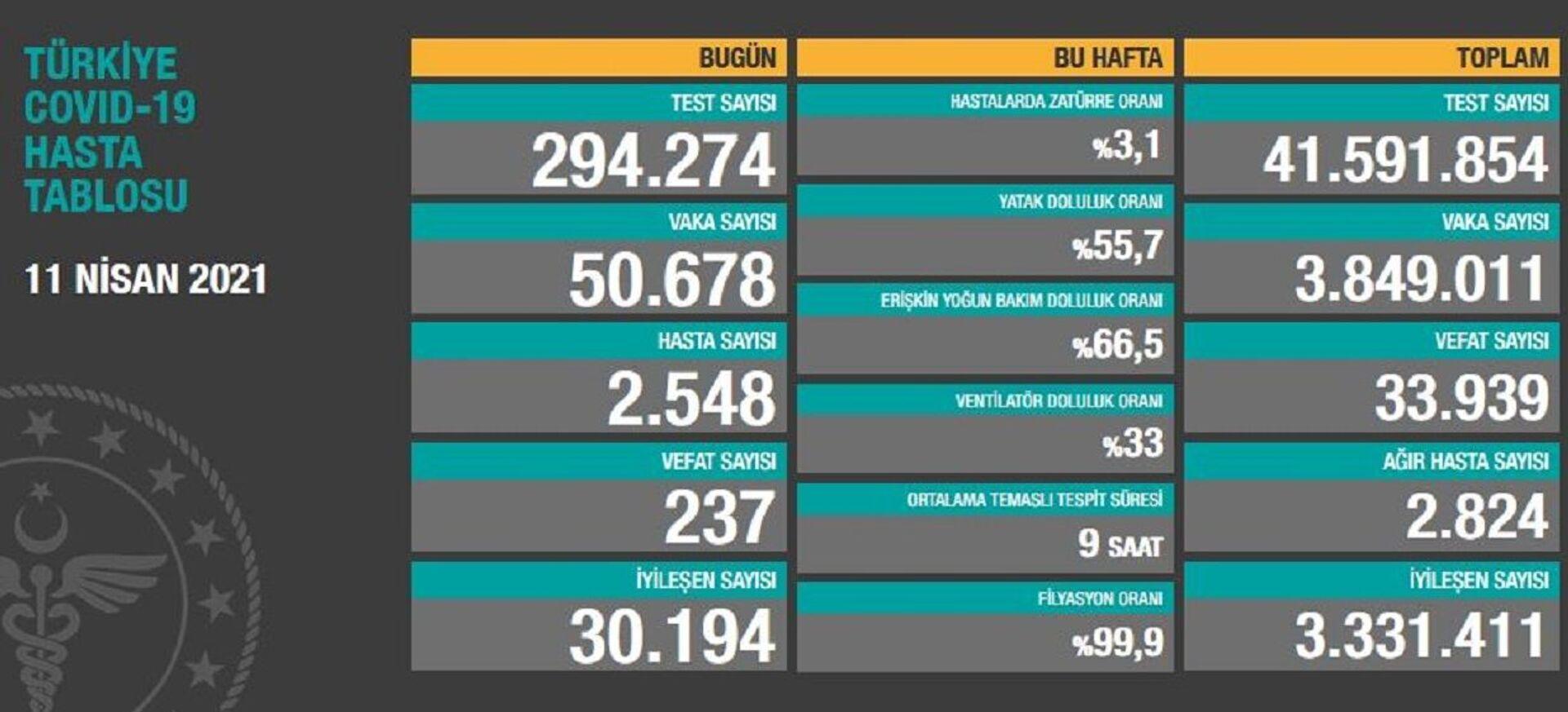 Türkiye'de son 24 saatte 50 bin 678 kişinin testi pozitif çıktı, 237 kişi hayatını kaybetti - Sputnik Türkiye, 1920, 11.04.2021