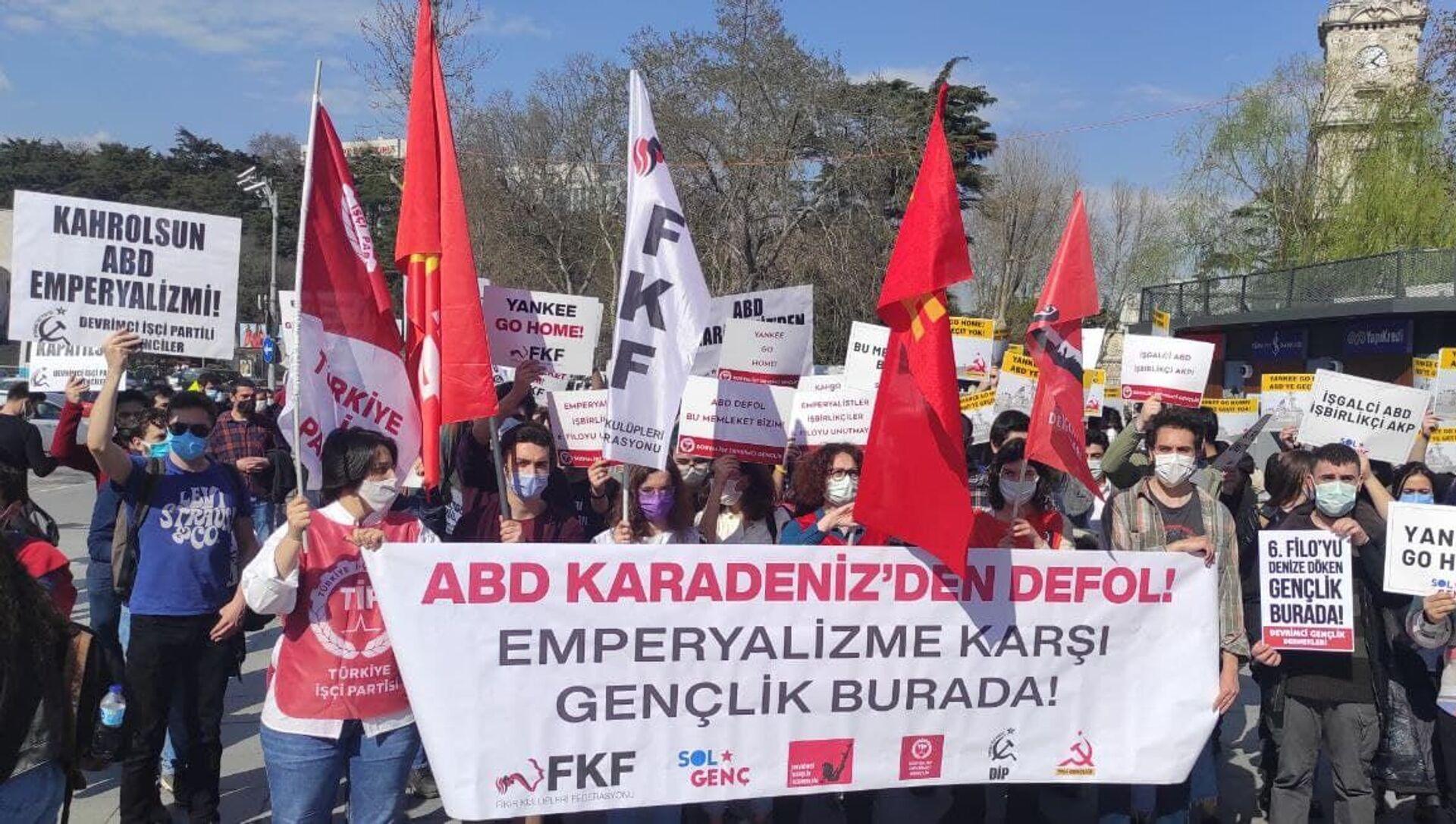 Gençlik örgütleri, ABD'nin Karadeniz'e savaş gemisi yollamasını protesto etti - Sputnik Türkiye, 1920, 14.04.2021