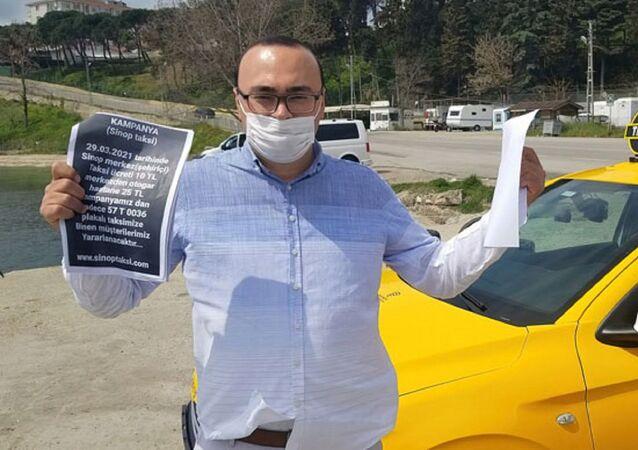 Sinop'ta, pandemi sürecinde indirim uygulayan taksici Ahmet Buluş