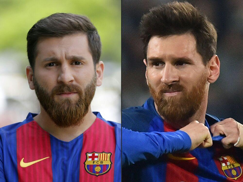 Dünya yıldızı futbolcu Lionel Messi'ye (sağda) benzerliği ile herkesi hayretlere düşüren İranlı Reza Parastesh (solda)