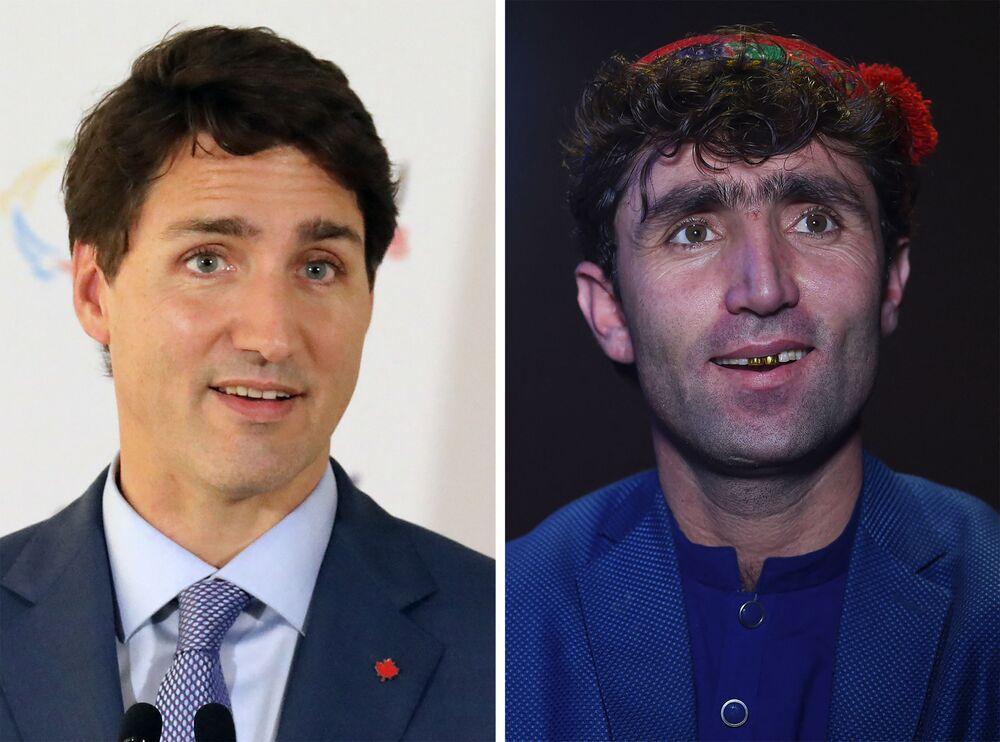 Kanada Başbakanı Justin Trudeau (solda) ile Afgan şarkıcı Abdul Salam Maftoon Düğün şarkıcısı Maftoon, 'Afgan Star' adlı müzik yarışma programına katıldıktan sonra Trudeau'ya benzerliği nedeniyle bir anda ünlendi