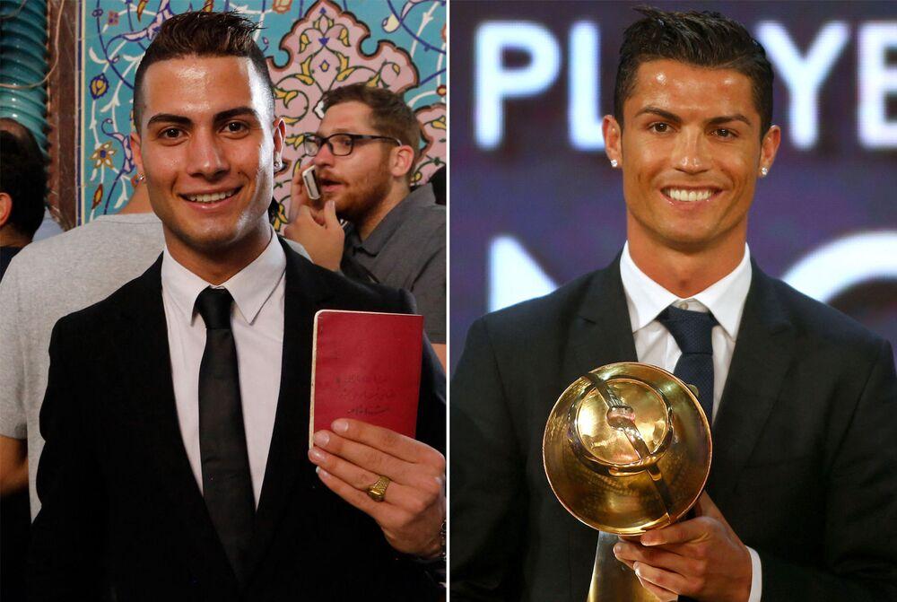 Portekizli yıldız futbolcu Cristiano Ronaldo'ya benzerliği ile dikkat çeken İranlı Reza Alireza Lou (solda)
