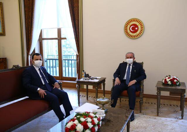 TBMM Başkanı Mustafa Şentop, Anayasa Mahkemesi Başkanı Zühtü Arslan'ı kabul etti.