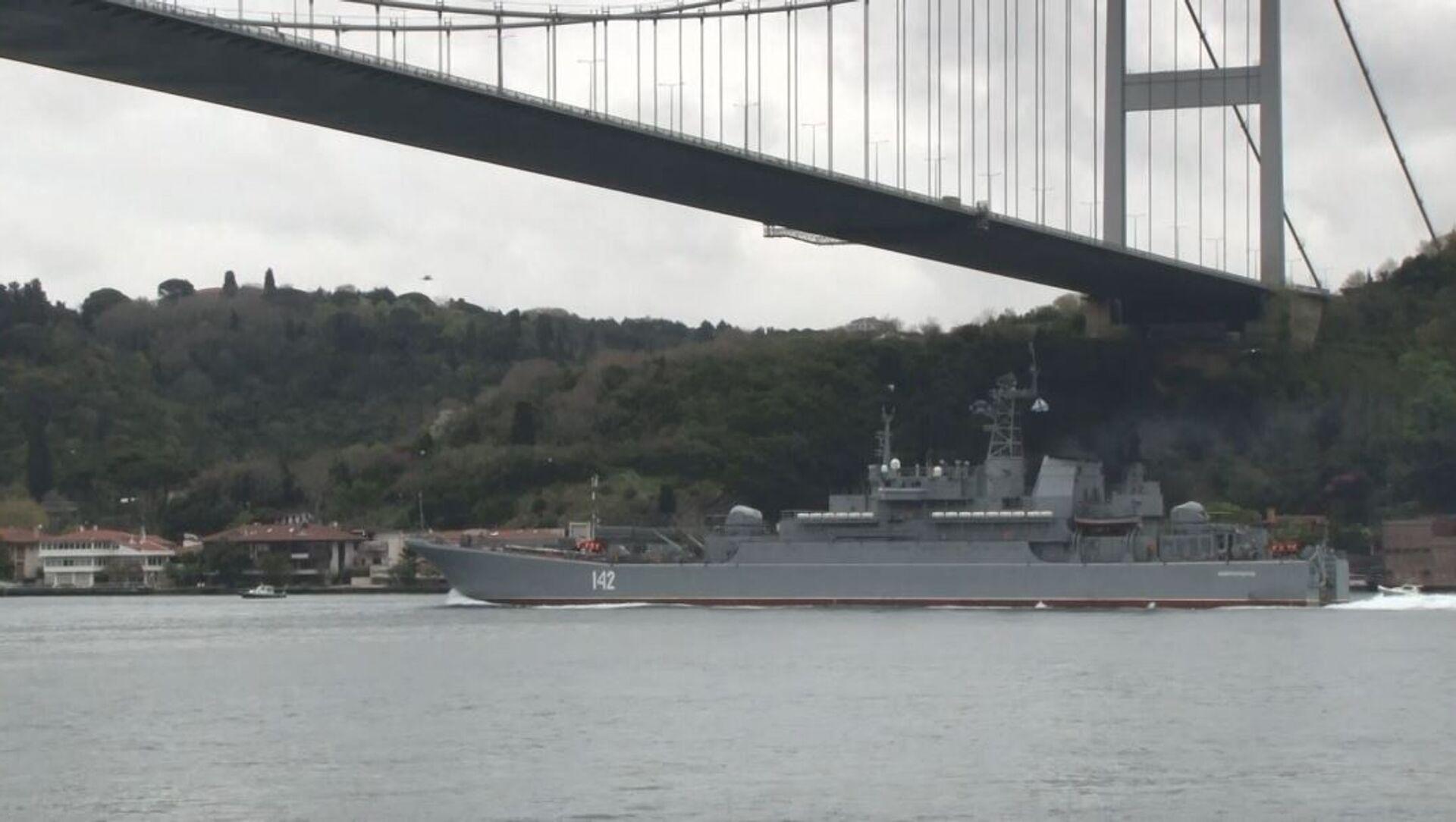 Rus savaş gemisi İstanbul Boğazı'ndan geçti - Sputnik Türkiye, 1920, 25.04.2021
