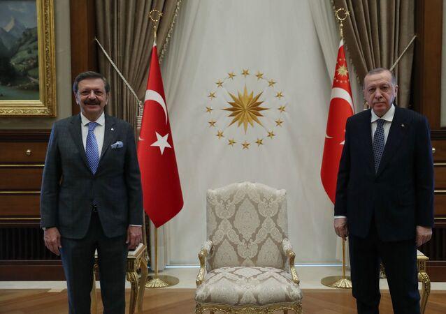 Cumhurbaşkanı Erdoğan, TOBB Başkanı Hisarcıklıoğlu'nu kabul etti