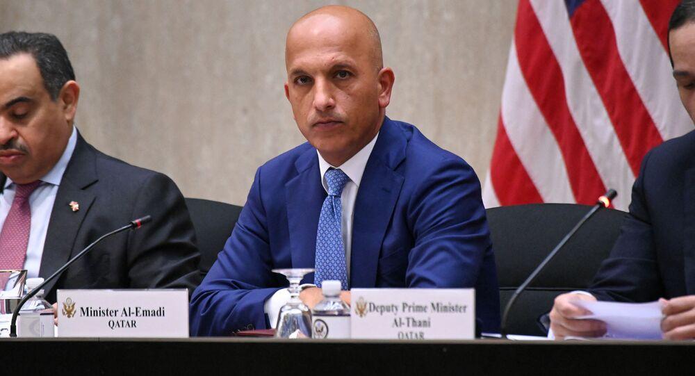 Katar Maliye Bakanı Ali Şerif el Emadi, yıllık ABD-Katar Stratejik Diyalog toplantısında (Washington, ABD Dışişleri Bakanlığı)