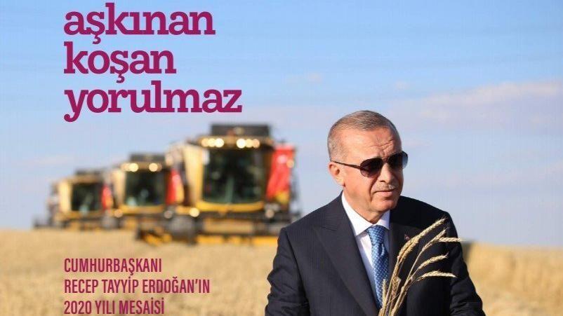 Cumhurbaşkanı Recep Tayyip Erdoğan'ın 2020 yılındaki mesaisi 'Aşkınan Koşan Yorulmaz' isimli kitapta anlatıldı.