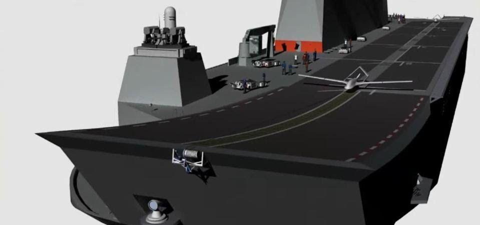 TB-2/3 model SİHA'ların çok maksatlı amfibi hücum gemisi TCG Anadolu'dan kalkışına dair çizim