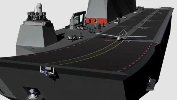 TB-2/3 model SİHA'ların çok maksatlı amfibi hücum gemisi TCG Anadolu'dan kalkışına dair çizim - Sputnik Türkiye