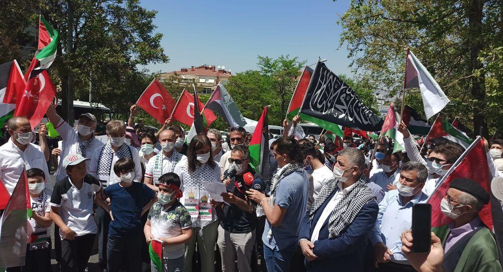 İHH'dan Ankara'daki İsrail Büyükelçilik Konutu önünde protesto