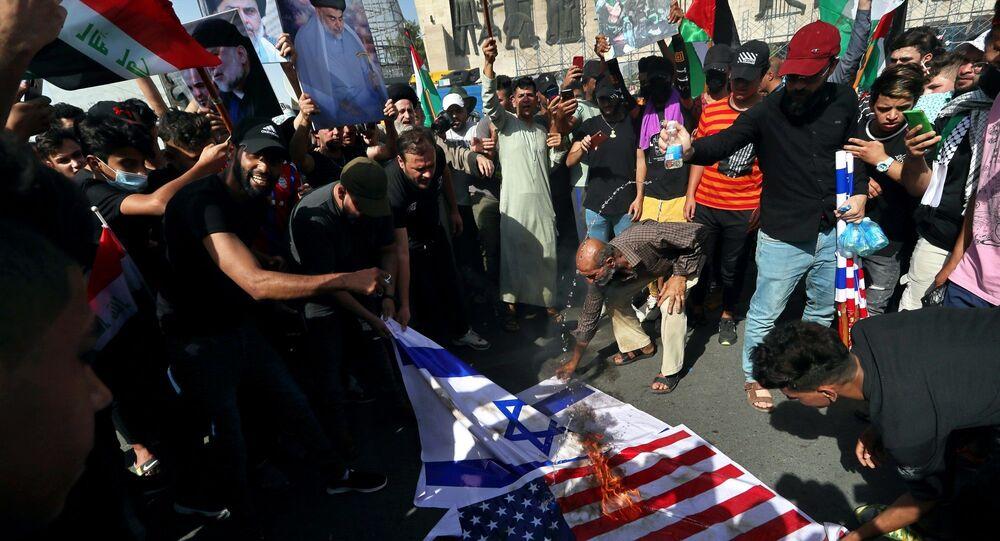 Bağdat'ta Sadr yanlılarından 'Filistin'e destek' mitingi