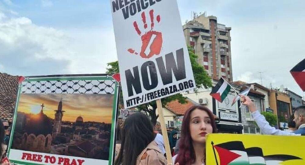 Sırbistan'da Filistin'e destek mitingi