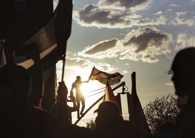ABD'nin New York kentinde düzenlenen  İsrail'in Gazze'ye saldırılarını protesto eden gösteriden bir kare