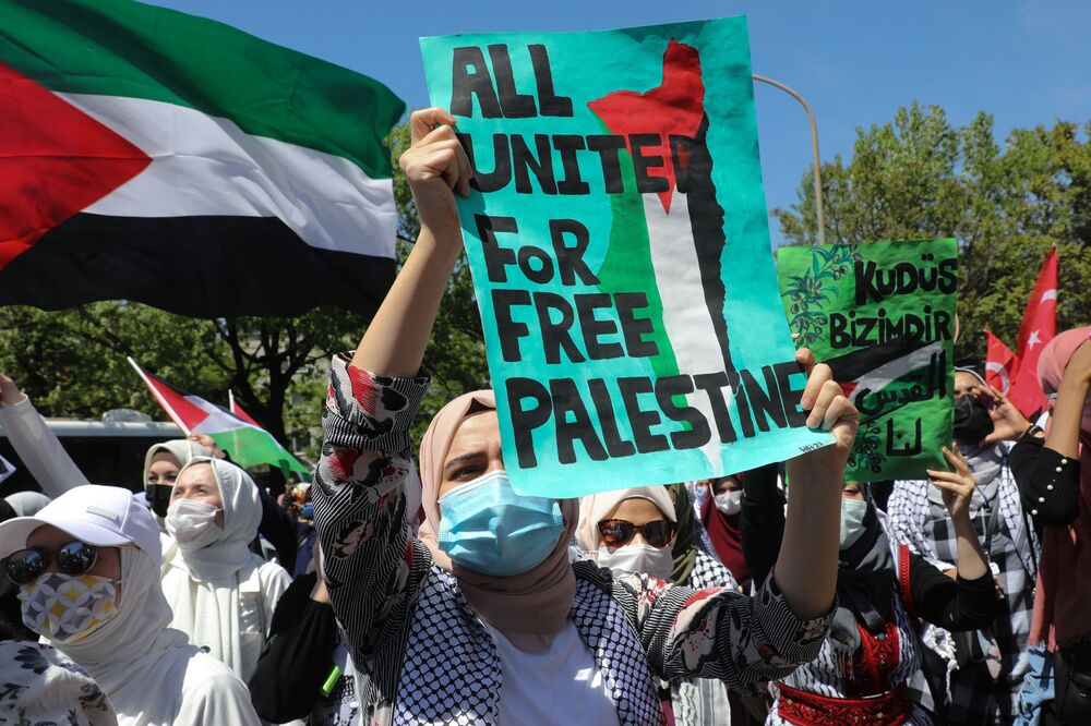 İsrail'in Filistin'e yönelik saldırılarının protesto edildiği  Ankara'dan  bir kare