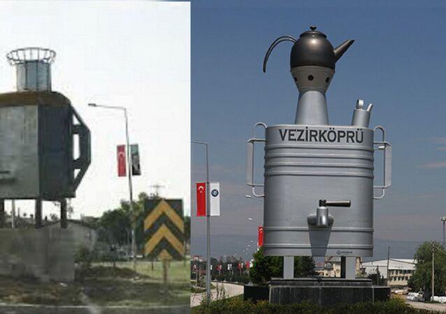 Vezirköprü ilçesinin girişine 4 yıl önce yerleştirilen 5 metre boyundaki yassı semaver anıtları