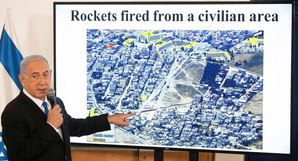 Gazze'deki Hamas ile İsrail arasında 10 Mayıs'ta başlayan savaşta 21 Mayıs'ta ateşkese girilmesinin ardından basın toplantısı düzenleyen İsrail Başbakanı Benyamin Netanyahu