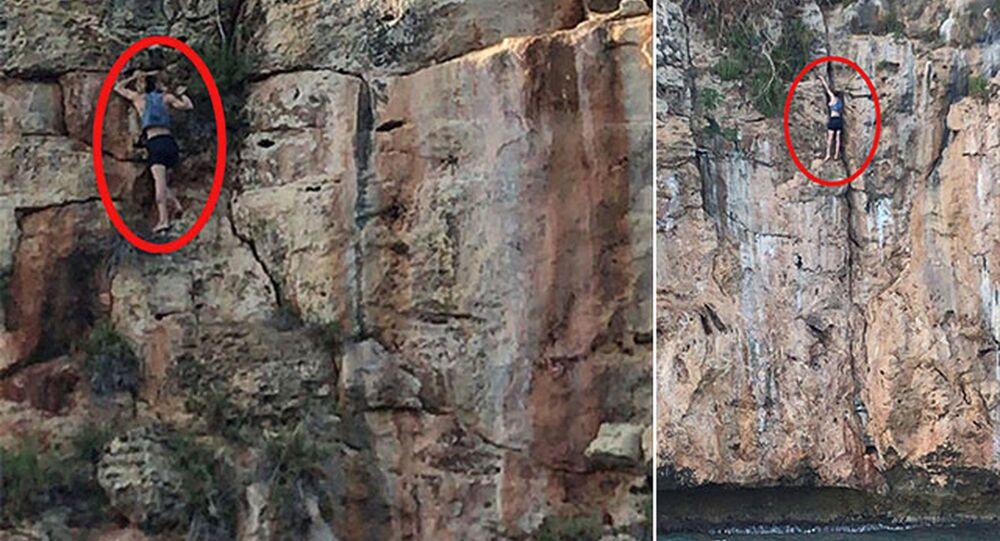Köpeğini kurtarmak isterken indiği 30 metrelik falezlerde mahsur kaldı