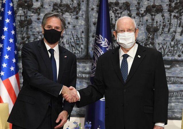 ABD Dışişleri Bakanı Antony Blinken Kudüs'te İsrail Cumhurbaşkanı Reuven Rivlin ile görüşürken