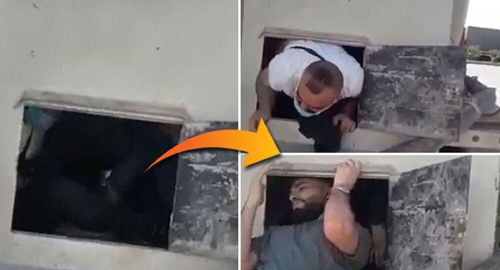 Suriye'den Türkiye'ye geçmeye çalışan 6 kişi, çimento yüklü kamyonun gizli bölmesinde böyle yakalandı