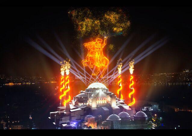 Cumhurbaşkanlığı İletişim Başkanlığı, İstanbul'un fethinin 568. yıldünümünde özel bir etkinlik düzenledi. Kentin simge yapılarından Ayasofya Camii ile Galata Kulesi ışık gösterisiyle aydınlatıldı. Ses ve ışık gösterileriyle İstanbul'un fethi canlandırıldı.