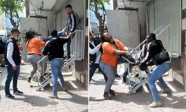 Afrikalı çift ile hırsızlık şüphelileri arasındaki kavga