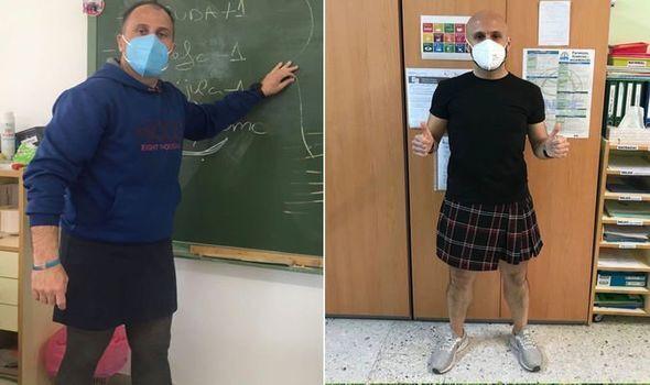 İspanya'da etek giyen erkek öğretmenlerden 'Kıyafetlerin Cinsiyeti Yoktur' kampanyasına destek