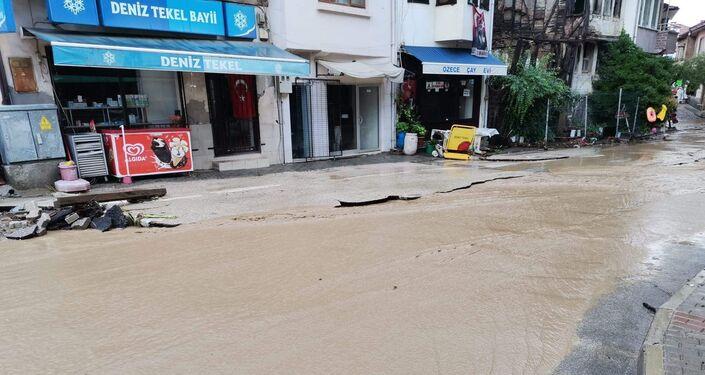 Bursa'nın Gemlik ve Mudanya ilçelerinde sağanak yağış hayatı olumsuz etkiledi.