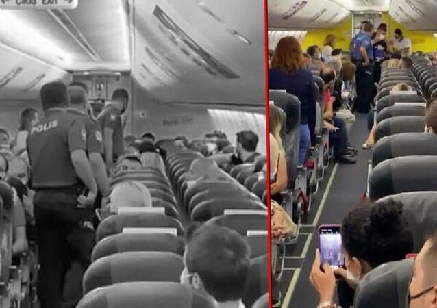Antalya-İstanbul seferinin yapılacağı uçakta 3 kadın, 2 erkek yolcunun kendilerine sözlü tacizde bulunduğunu iddia etti.