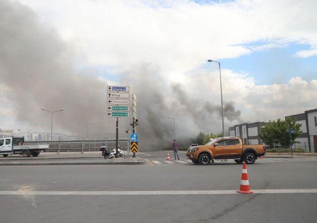 Ankara'da kimyasal madde üreten iş yerinde yangın