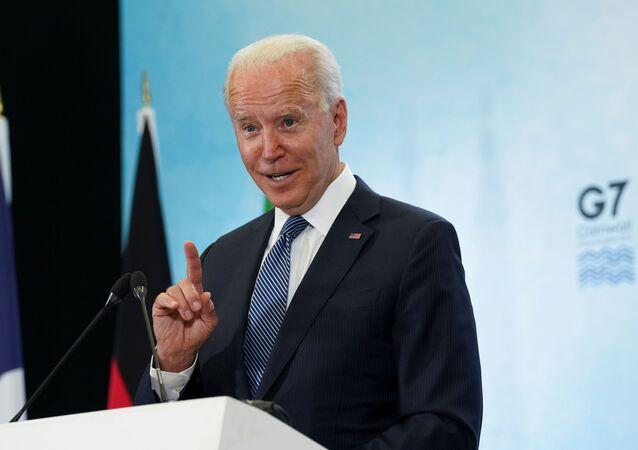 Joe Biden, G7 zirvesinin kapanışında basın toplantısı düzenlerken