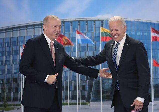 Cumhurbaşkanı Erdoğan ve ABD Başkanı Biden görüşmesinden ilk kareler