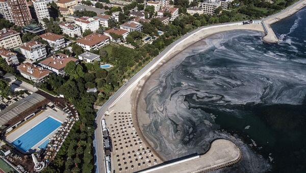 Son aylarda Marmara Denizi'ni etkisi altına alan deniz salyası (müsilaj) Kadıköy Caddebostan sahil şeridinde yoğunluğunu sürdürüyor - Sputnik Türkiye
