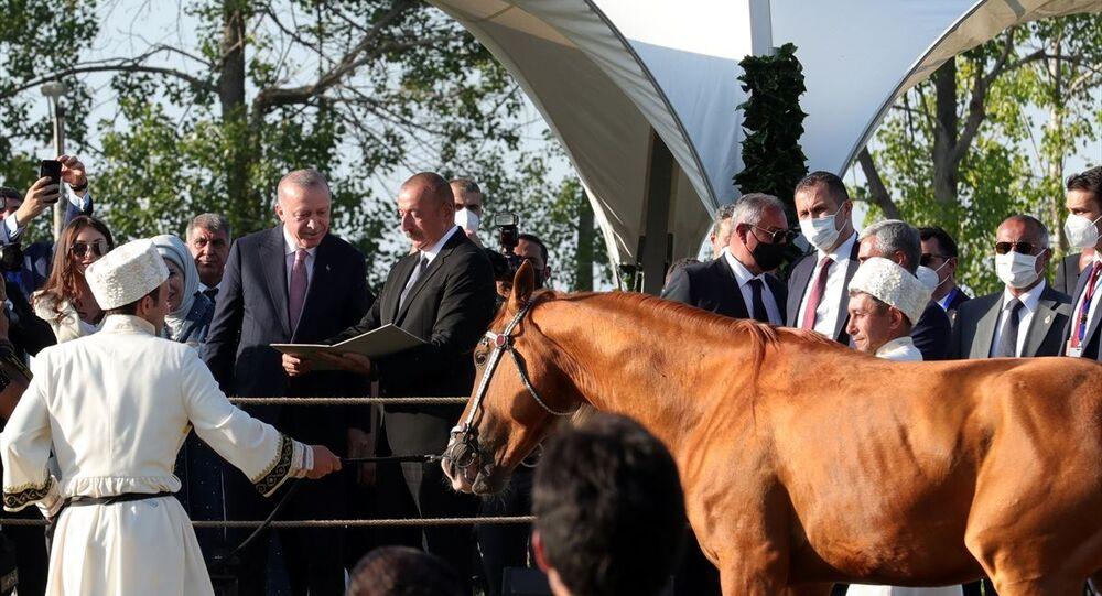 Cumhurbaşkanı Recep Tayyip Erdoğan ve eşi Emine Erdoğan ile Azerbaycan Cumhurbaşkanı İlham Aliyev ve eşi Mihriban Aliyeva, Azerbaycan'ın Şuşa şehrindeki bazı tarihi mekanları ziyaret etti.