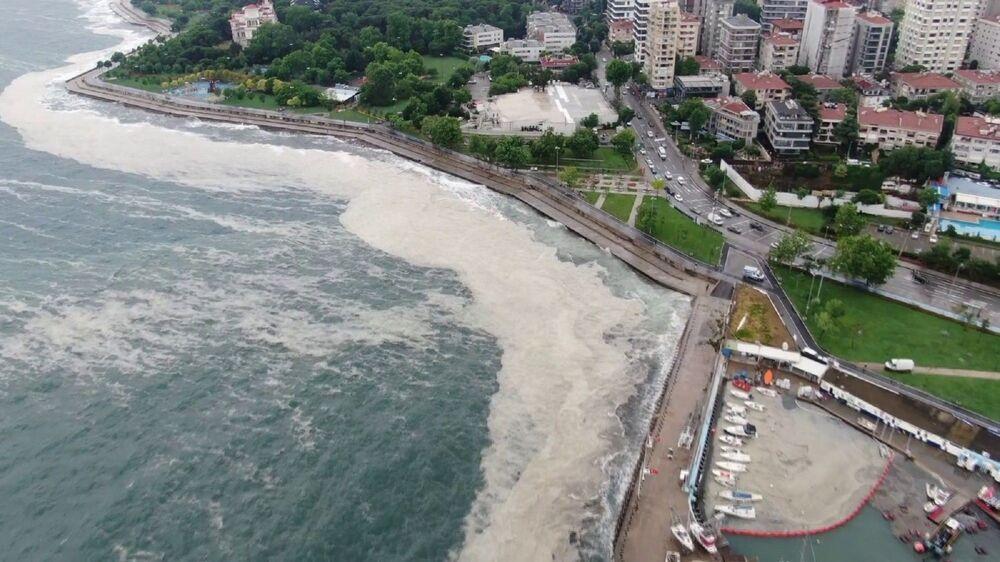 İstanbul'da etkili olan şiddetli yağış ve lodos Marmara denizinde müsilajı kıyıya sürükledi. Müsilajın kıyıya vurmasıyla birlikte sahilde yoğun tabakalar oluştu.