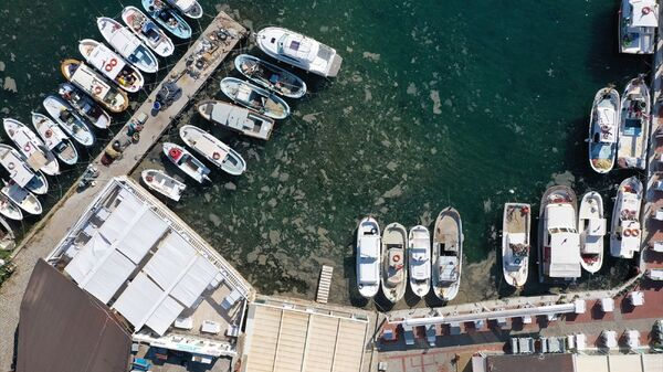 Marmara Denizi sahillerinde görülen ve rüzgarın etkisiyle kıyılara sürüklenen müsilaj (deniz salyası) Bozcaada iç limanda az miktarda görüldü. Ada genelinde ise müsilaja rastlanmadı. - Sputnik Türkiye