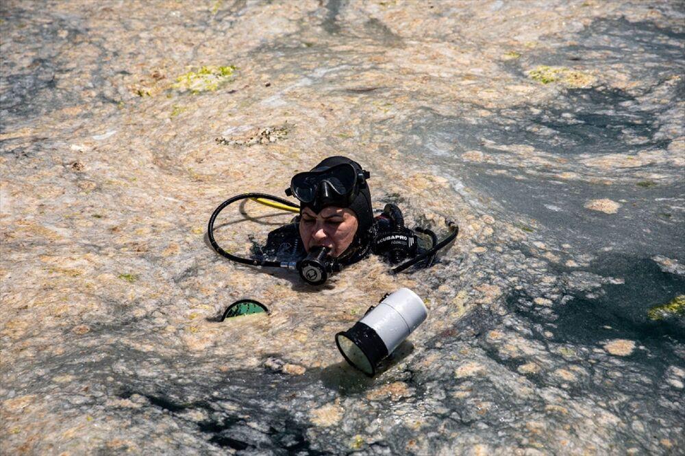 Büyükada'daki bir grup dalgıç, deniz altındaki müsilajı görüntülemek için dalış yaptı. Yaklaşık 30 metre derinlikte gerçekleşen dalış sırasında müsilajın geniş bir alanda ve deniz suyunun tamamına yoğun bir şekilde dağıldığı gözlendi.