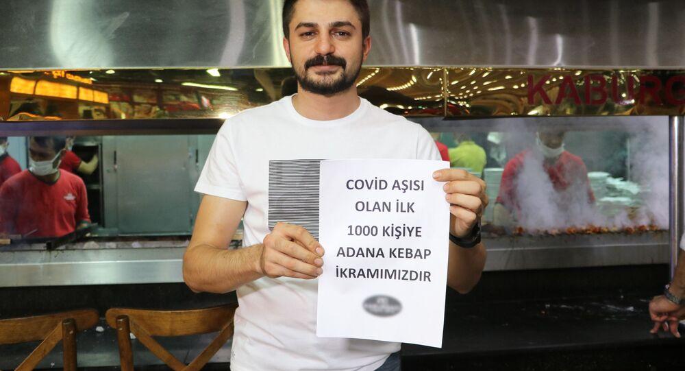 Aşı olana Adana kebap ikramı,  Uğur Aydın