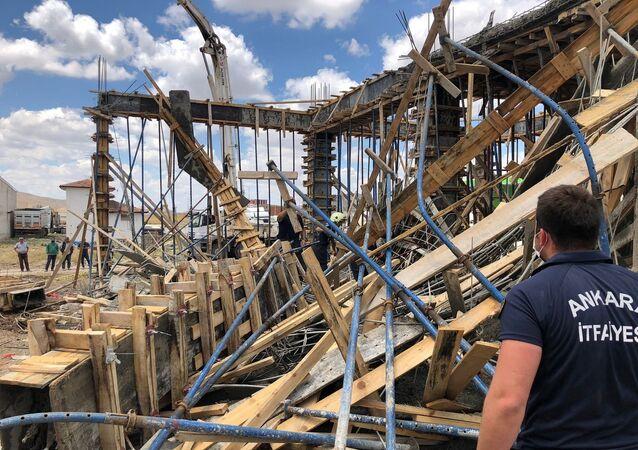Ankara'nın Polatlı ilçesinde bir inşaatta meydana gelen göçük