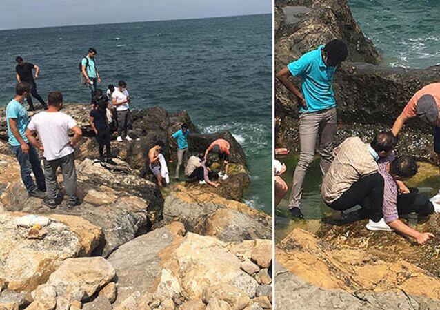 Bartın'ın Amasra ilçesinde kayalıkların üzerinde selfie çekerken denize düşen üniversite öğrencisi Ürdün uyruklu Seif Mohammad Yousef Khashan, vatandaşlar tarafından kurtarıldı.