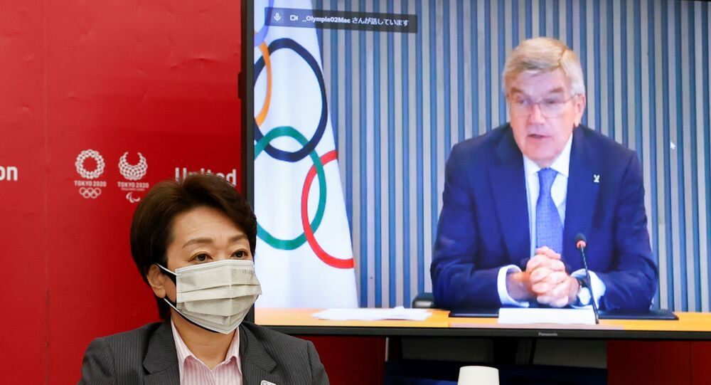 Tokyo 2020 Başkanı Seiko Hashimoto'nun düzenlediği toplantıda IOC Başkanı Thomas Bach videokonferans yoluyla konuşurken