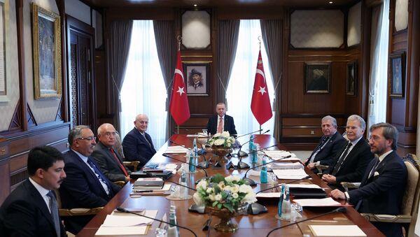 CUMHURBASKANLIGI YUKSEK ISTISARE KURULU, CUMHURBASKANI ERDOGAN BASKANLIGINDA CUMHURBASKANLIGI KULLIYESI'NDE GERCEKLESTIRILDI. FOTO-ANKARA-DHA - Sputnik Türkiye