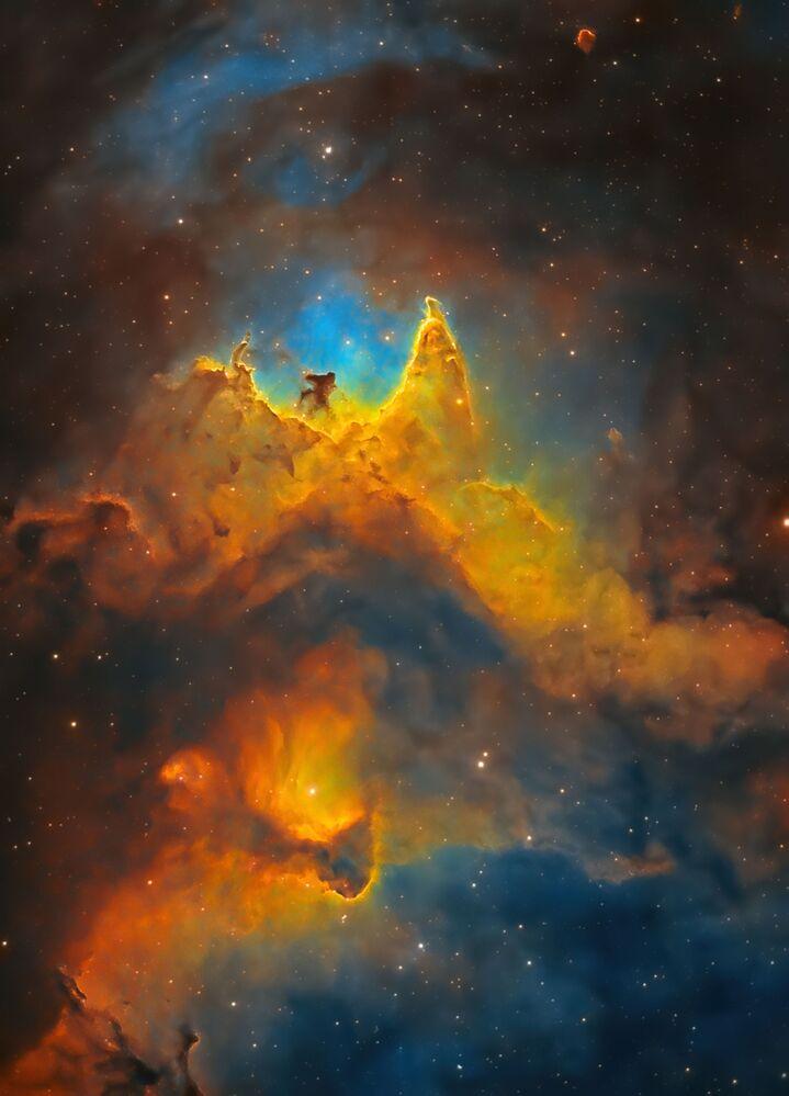 Yılın Astronomi Fotoğrafçısı 2021 Yarışmasının kısa listesine girenlerden İngiliz fotoğrafçı Kush Chandaria'nın çektiği Uzayın Ruhu fotoğrafında Kraliçe takımyıldızı yönünde yaklaşık olarak 7,500 ışık yılı uzaklıkta bulunan Ruh Bulutsusu görüntülendi