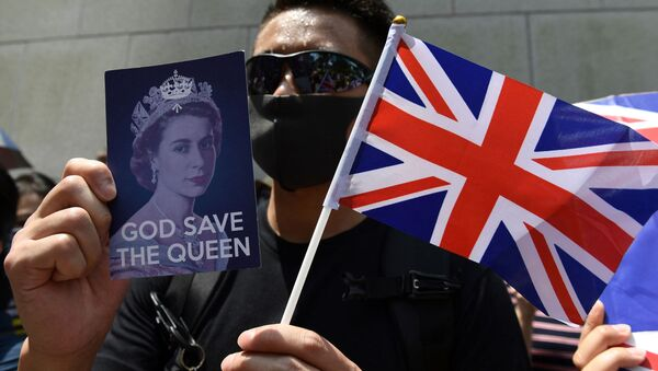 Hong Kong'da İngiltere yanlısı eylemci - Sputnik Türkiye